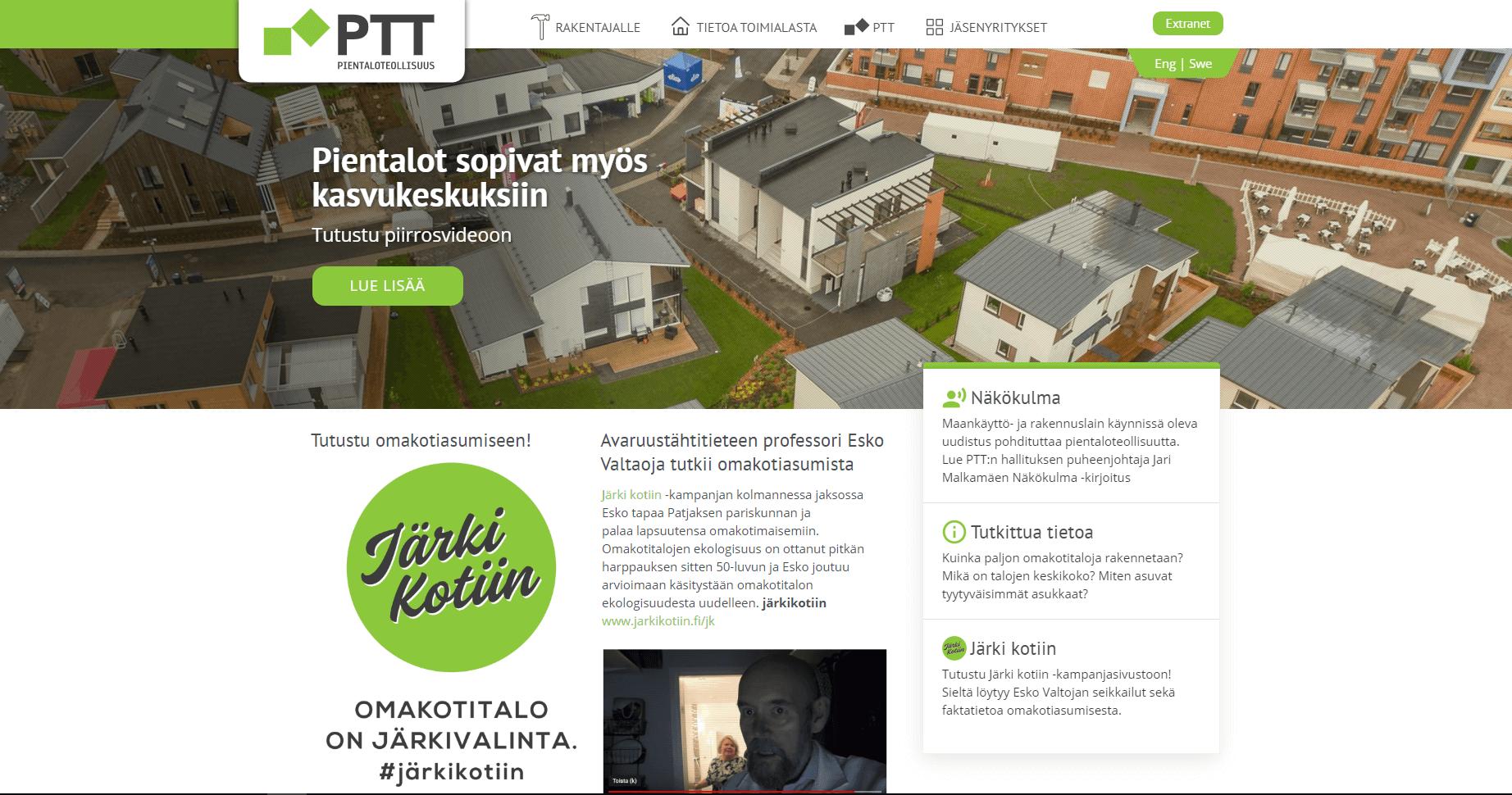 PTT Pientaloteollisuus etusivu