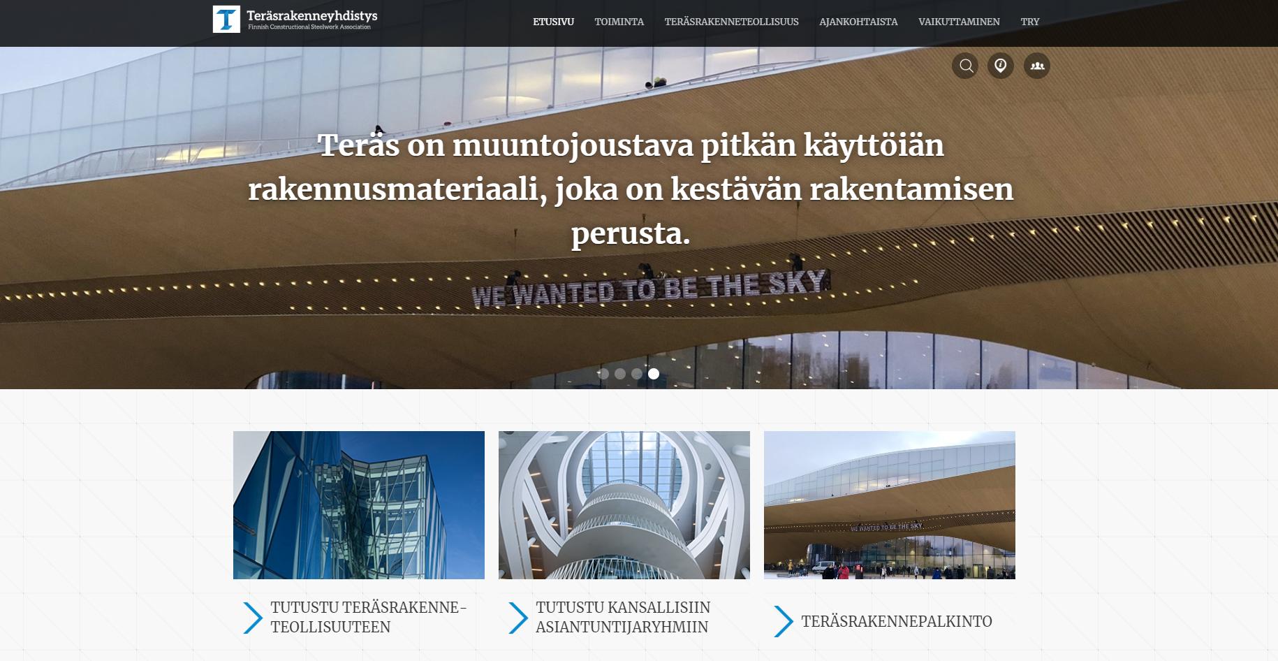 Teräsrakenneyhdistys verkkosivut