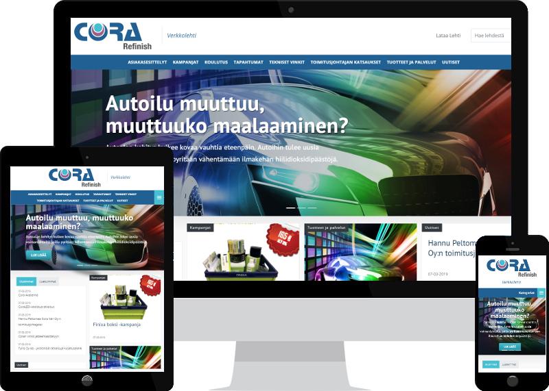 Verkkolehti yritykselle Cora Refinish Oy