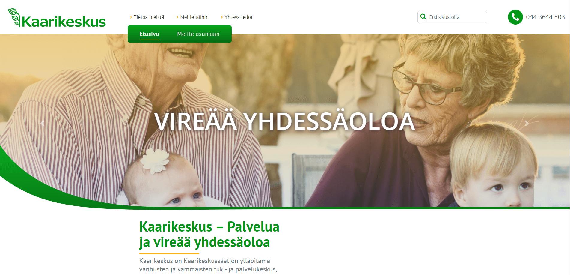 WordPress-kotisivut Kaarikeskukselle - Verkkovaraani