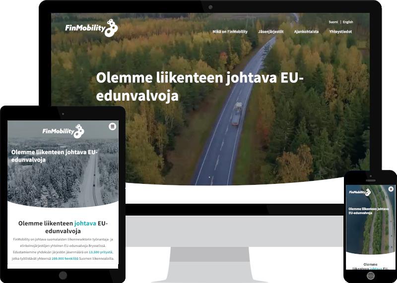 FinMobilityn WordPress-sivut - laskeutumisnäkymä eri laitteilla