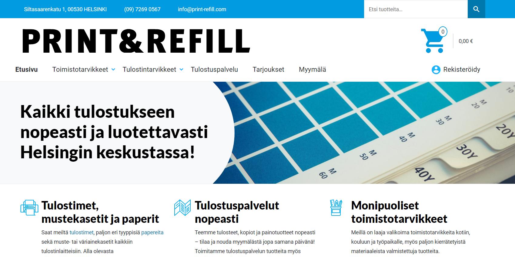 Etusivu Print & Refillin WooCommerce-verkkokauppa