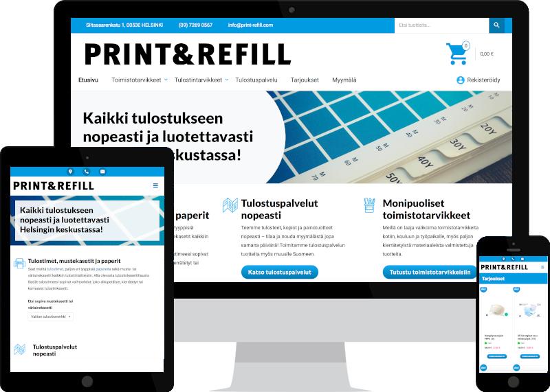WooCommerce-kauppa ja digimarkkinointi Print & Refillille - Verkkovaraani
